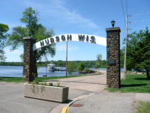 The Hudson Arch on the bank of the St. Croix River in Hudson, WI