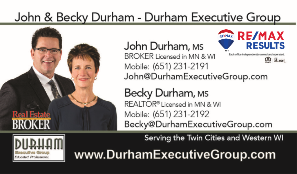 John & Becky Durham's business card
