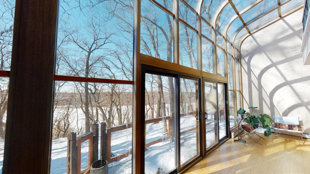 Solarium sun room windows overlooking Stillwater and St. Croix River